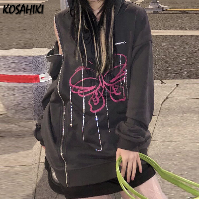 KOSAHIKI بلوزات نسائية فضفاضة مطبوعة بفراشات مطرز بالخرز بسحاب عتيق مكشوف الكتفين Harajuku ملابس تناسب جميع الأعمار