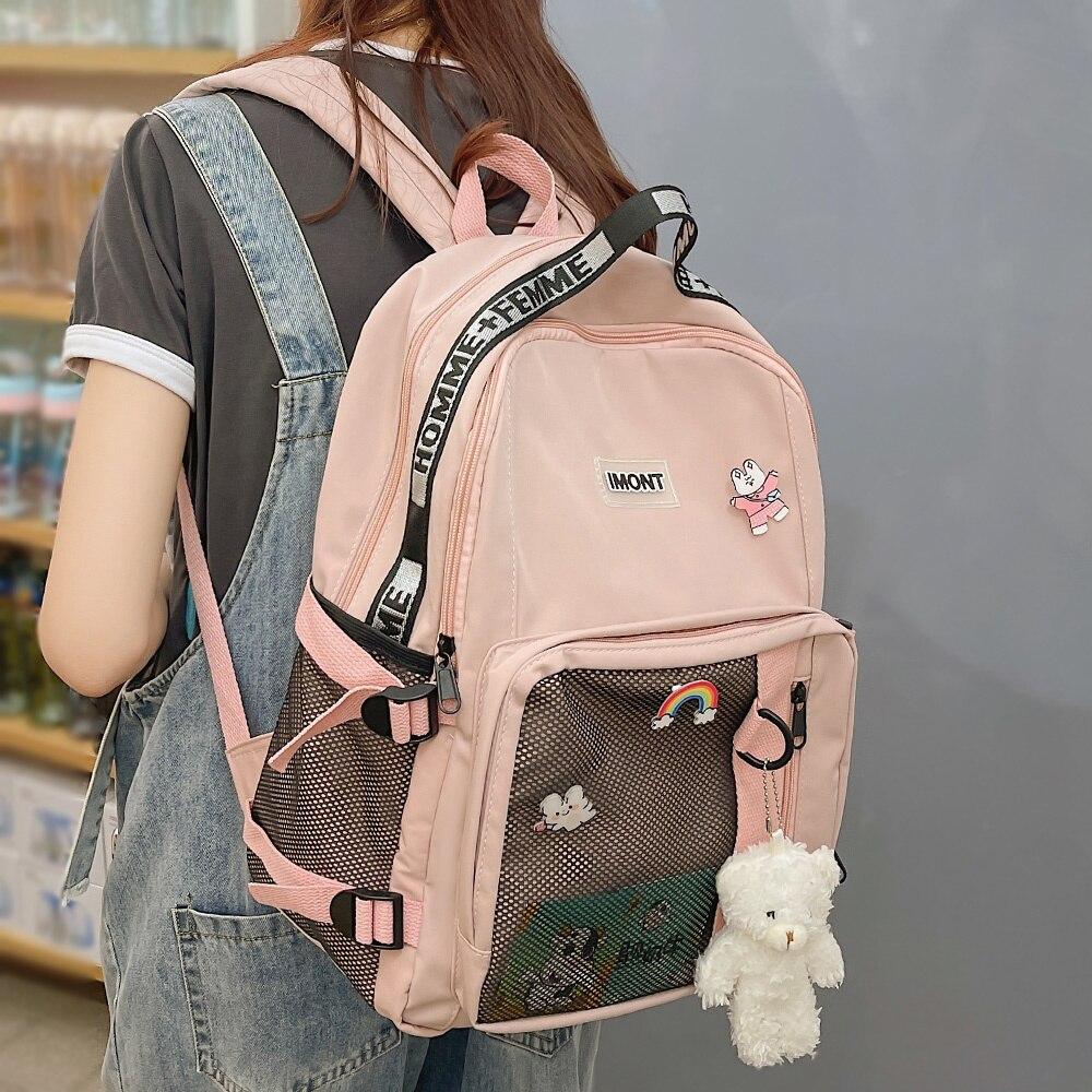 Girl Laptop Student Backpack Mesh Kawaii Ladies School Bag Book Women Cute Backpack Waterproof Nylon Female Harajuku Bag Fashion рюкзак xiaomi 90 points commuter ladies backpack laptop waterproof nylon bag blue