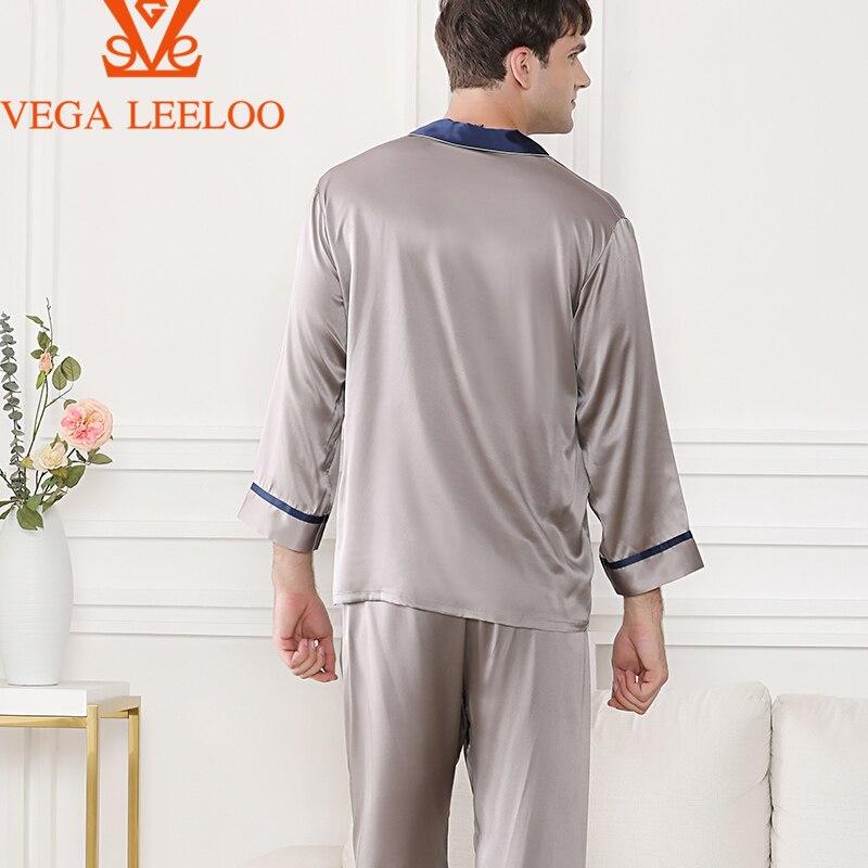 100% 25 +шелк мужчины две части пижамы роскошь однотонный цвет шелк одежда для сна +для мужчин