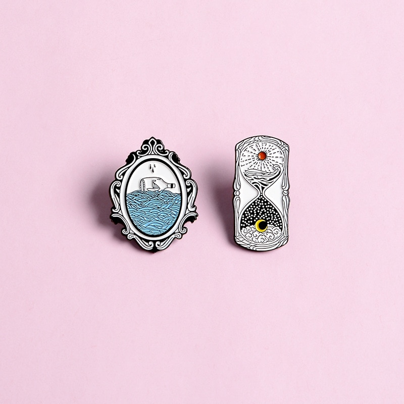 Outdoor adventure pin series drifting picnic vacation forest map tent desert island sunset badge friends travel brooch jewelry  - buy with discount