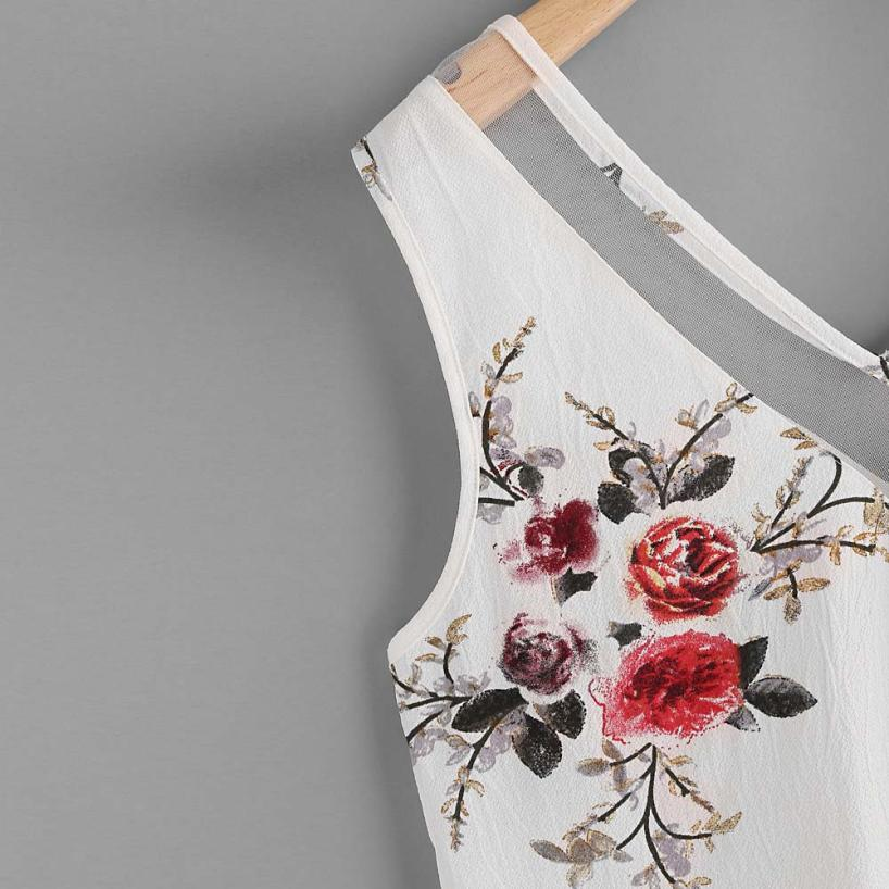 Ostrich Chiffon Ladies Shirt Floral Casual Sleeveless Top Summer 2021 Fashion Top -CH14  - buy with discount