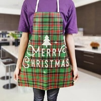 linen merry christmas apron christmas decorations for home kitchen accessories home cooking baking waist bib pinafore