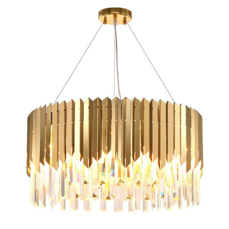 Luces colgantes de acero inoxidable, redondas, ovaladas, modernas, doradas, lámpara colgante de luz, lámpara de suspensión para comedor