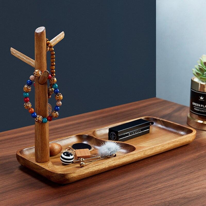 Bandeja de almacenamiento de madera de estilo nórdico, soporte de joyería con llave para teléfono, organizador de escritorio, decoración creativa para el hogar, mesa de entrada, contenedor de almacenamiento