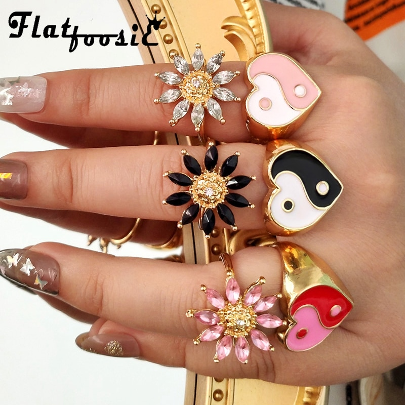 Flatfoosie 2Pcs/Set Gold Color Flowers Crystal Rings for Women Korean Trendy Love Heart Yin Yang Rings Set 2021 New Jewelry Gift