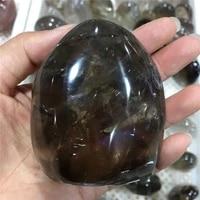 natural black ash crystal raw gemstone quartz smoking stone mineral healing palm