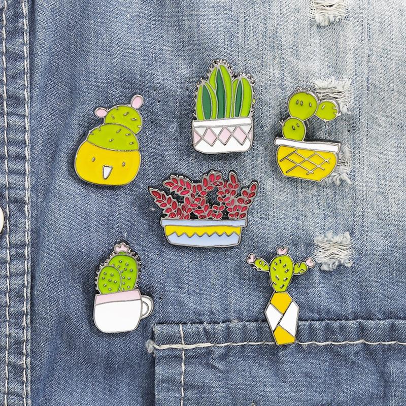 Smiling Face Plant Brooches Green Cactus Succulent Pot Enamel Women Badge Jeans Denim Hat Cap Coat Lapel Pin Cufflinks Jewellery