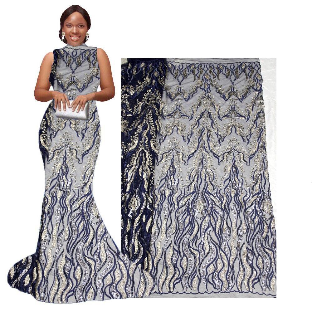 Material de encaje francés de tul de secuencia africana de tela de encaje de lentejuelas de alta calidad