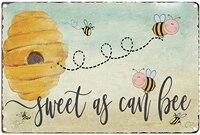 Signe inapproprie drole et doux comme Can abeille  signe en metal retro Vintage  decoration de ferme  de pays  de maison  decoration de jardin 8x12 pouces