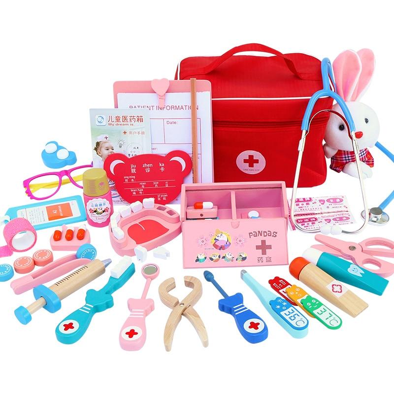 Kids Toys Doctor Set for Kids Children Kit Games for Girls Boys Pretend Play Wood Red Medical Dentis