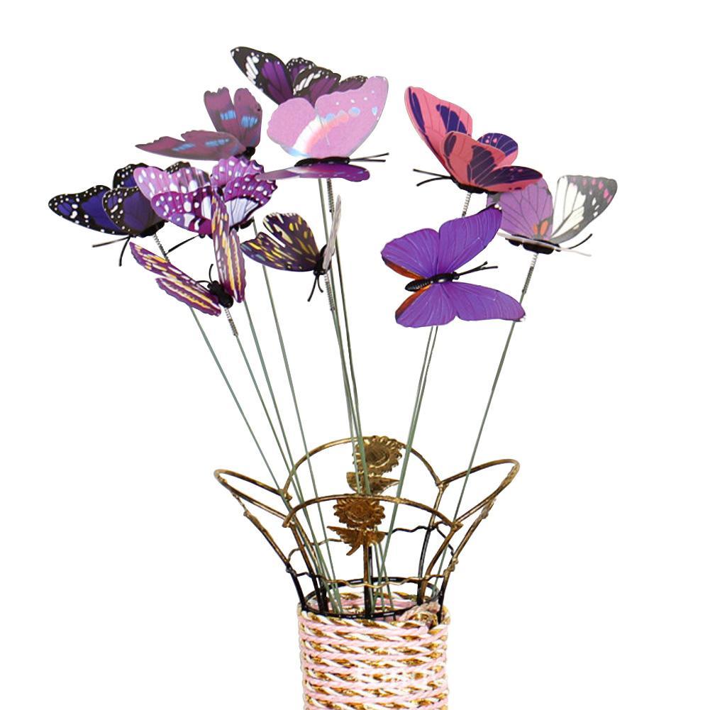 Juego de 10 unidades de palo Artificial de mariposa Artificial para exteriores, maceta decorativa para jardín, decoración para césped planta, decoración de mariposa falsa