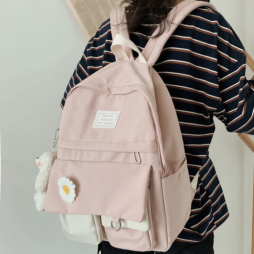 College Student Ladies Cute Backpack Women Flower Female Harajuku School Bags Book Kawaii Backpack N