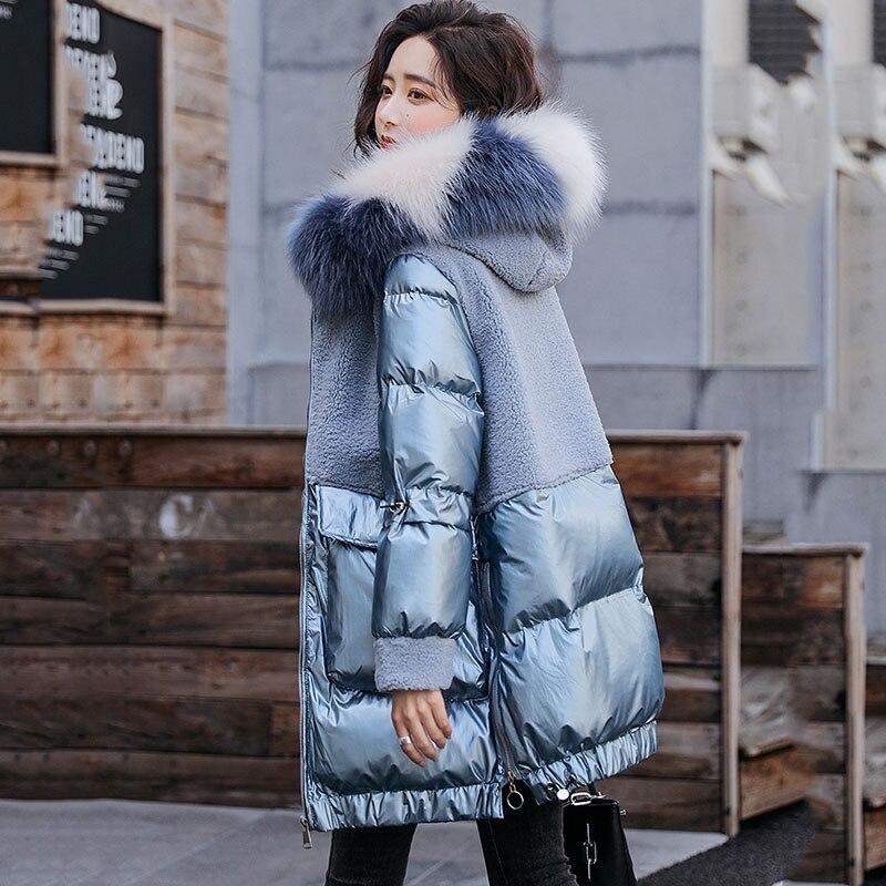 Abrigo de algodón grueso brillante para Mujer, Chaqueta de algodón con capucha...
