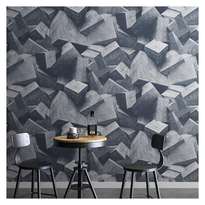 Papel de pared Industrial 3D Retro de piedra de ladrillo PVC vinilo impermeable Vintage geométrico realista papel de Contacto Café Bar decoración de Loft 10M
