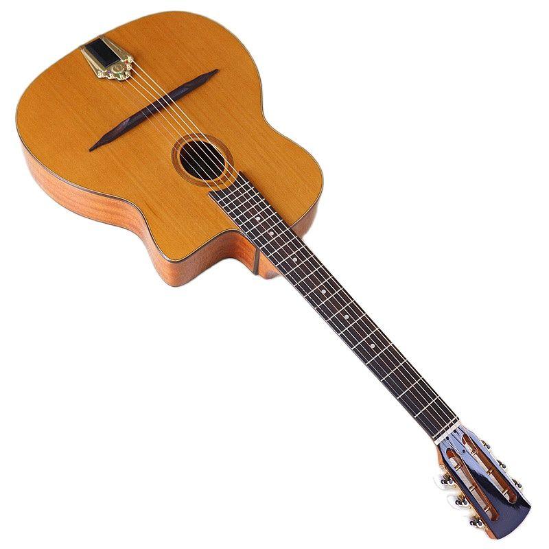 Solid Red Cedar Wood Top Django Acoustic Guitar Jango Guitar 41 Inch Glossy Orange 6 Strings 4.8cm Upper Nut with Classic Head