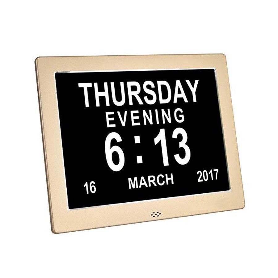Цифровые часы с календарем и днем, металлические часы с очень большими цифрами, будильник с нарушением зрения, электронные часы для пожилых людей, настольные часы 8 дюймов