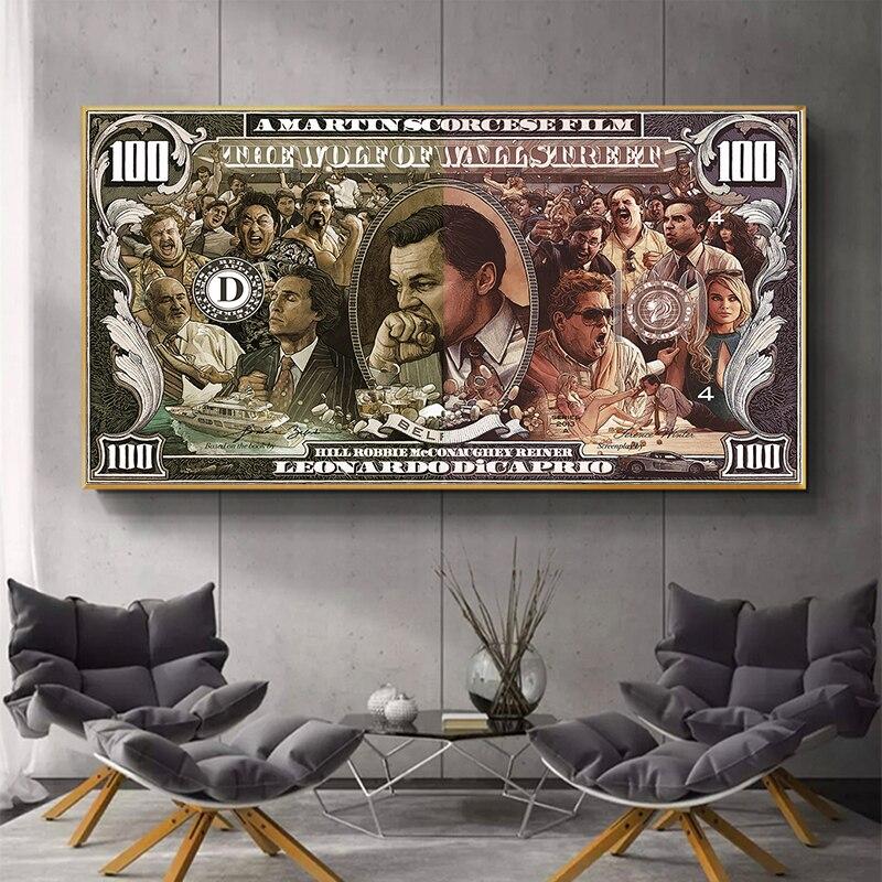 Graffiti rue argent Art 100 Dollar toile peinture affiches et impressions loup de Wall Street Pop Art pour salon décor mur