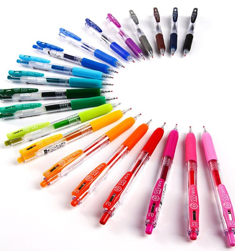 Paquete de 20 colores surtidos pluma Japón Zebra SARASA JJ15 jugo de Gel de Color bolígrafos con Clip Color marcador bolígrafo 0,5mm 20 colores