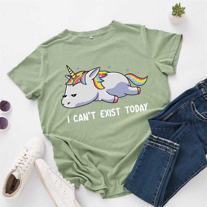 Plus Size S-5XL New Unicorn Print 100%Cotton T Shirt  Women T-Shirt O Neck Short Sleeve Tees Summer T-shirts Blue Tshirt