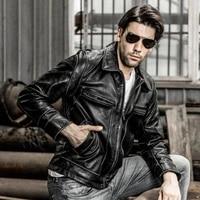 new avirex fly real david backham style turn down collar skin wind jacket mens leather coat motorcycle jackets