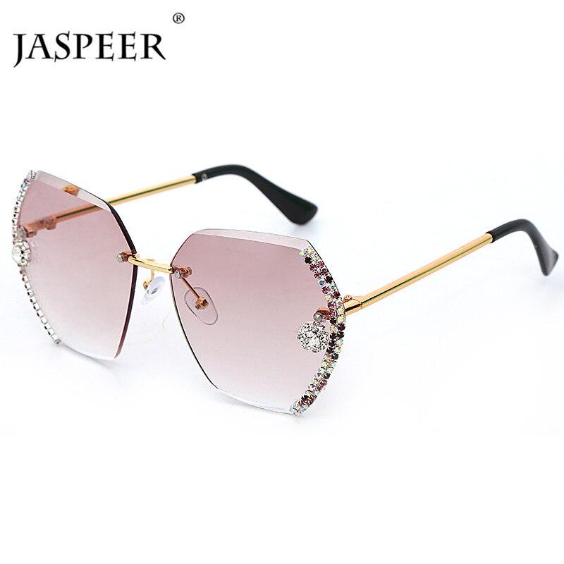 Gafas de sol clásicas sin marco JASPEER, gafas de sol graduales de gran tamaño con diamantes de marca de diseñador para mujer, gafas hexagonales con diamantes de imitación UV400