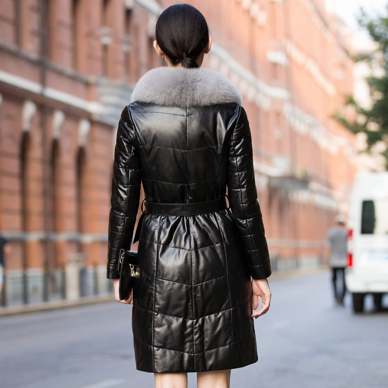 Black Genuine Leather Jacket Women Sheepskin Coat Female 90% White Duck Down Parkas Woman Fox Fur Collar Winter Mujer Chaqueta enlarge