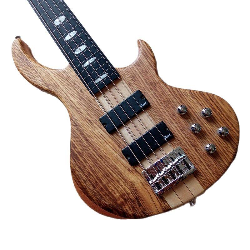 5 Strings Fretless Guitar Neck Through Electric Bass Guitar Hickory Wood Top 43