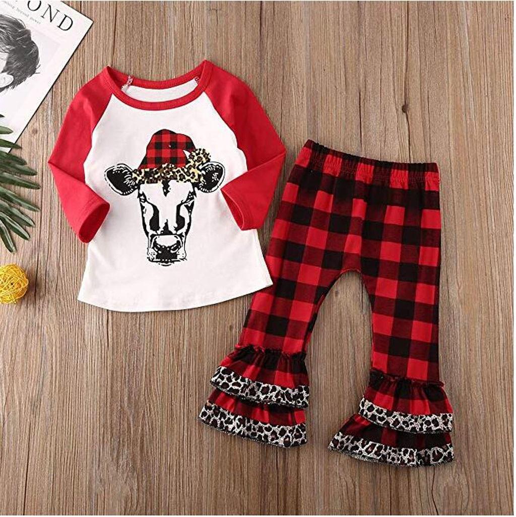 Toddler Kid Baby Boy Girl Christmas Cartoon T Shirt Ruffle Pants Outfits O-Neck Pullover Long Sleeve Casual Fashion BabySet