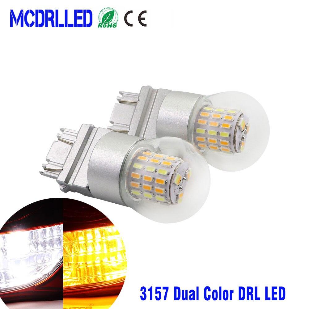 Mcdrlled двухцветная 12 В T25 3157 P27/7 Вт Светодиодная автомобильная лампа Drl для сигнала поворота Светодиодная лампа автомобильные лампы белого и ж...
