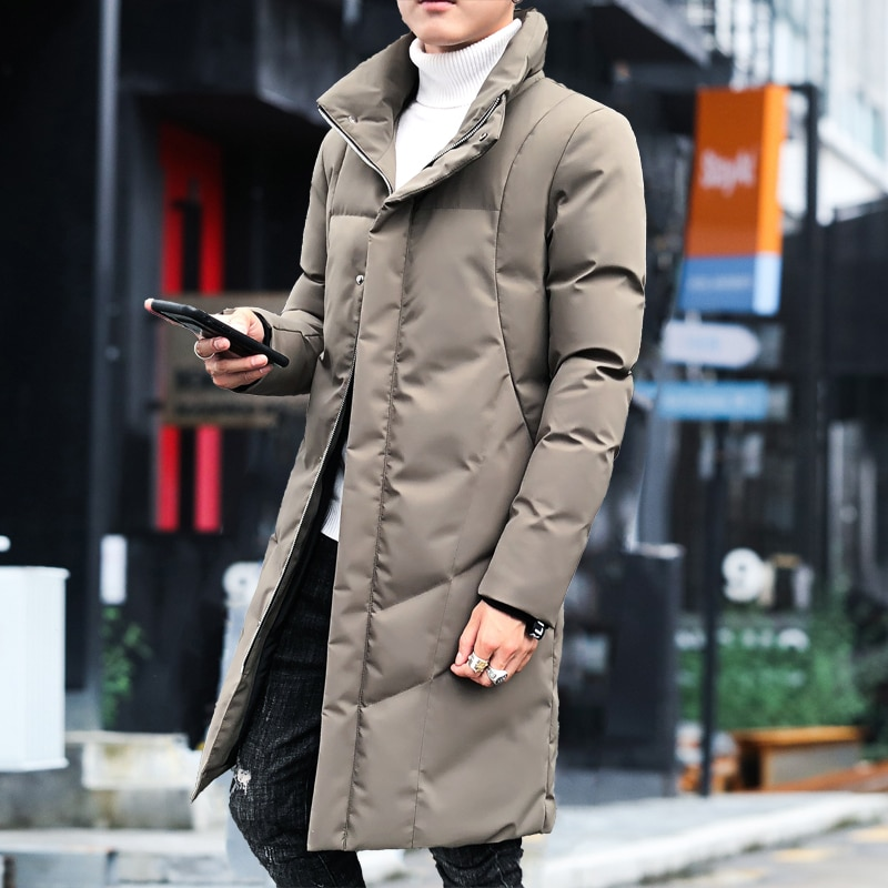 new mens winter cotton padded long coat black hooded parka thick warm casual plus size m xxxxxl u73 Winter Mens Cotton-padded Coat Hooded With Fur Collar Long Parka Thick Warm Stand Collar Outwear U15
