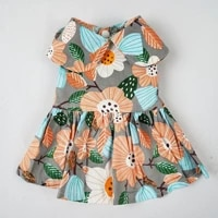 dog dress floral pattern breathable cotton comfy elegant dress dog clothes teddy wear pet skirt for small medium dog