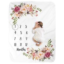 Manta de lana de primera calidad para bebé, manta con motivo de hitos para foto de niño y niña recién nacido, envío directo