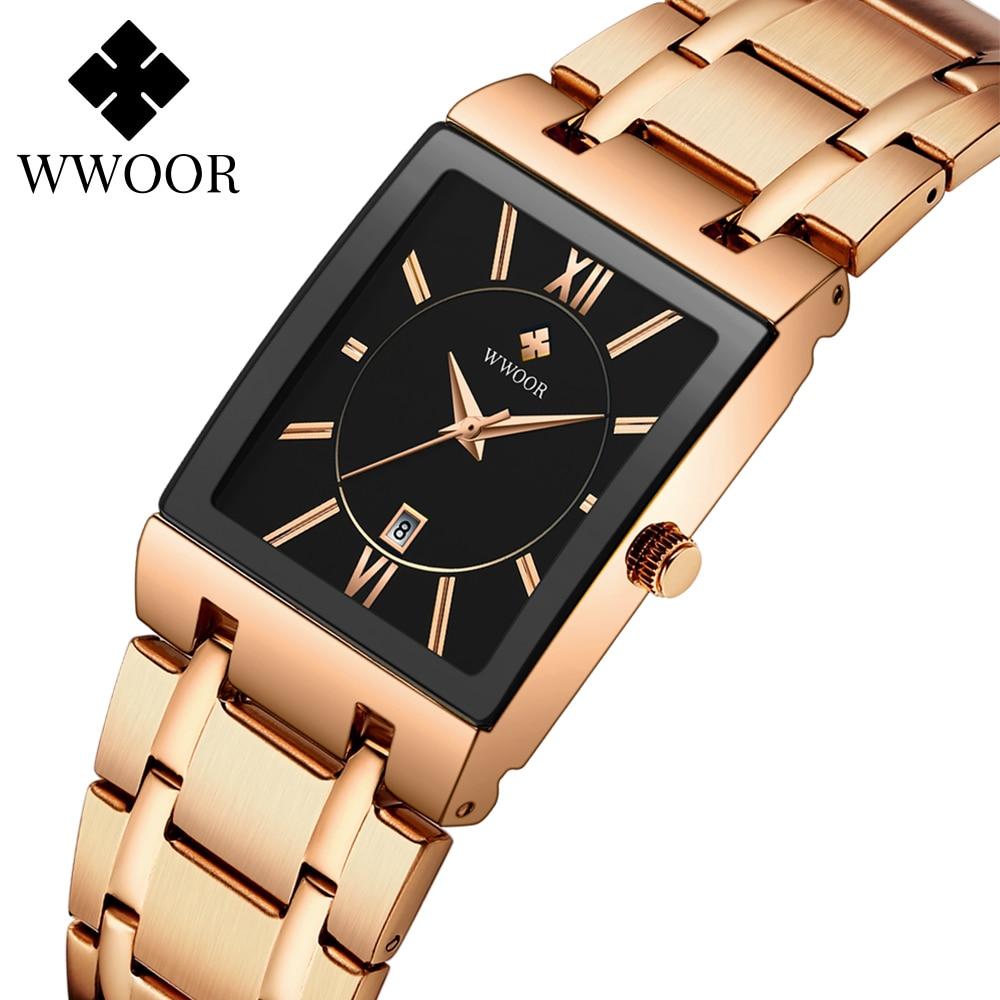 WWOOR Luxury Rose Gold Women Watches Top Brand Fashion Square Ladies Quartz Dress Watch Female Clock Gifts Relogio Feminino 2020