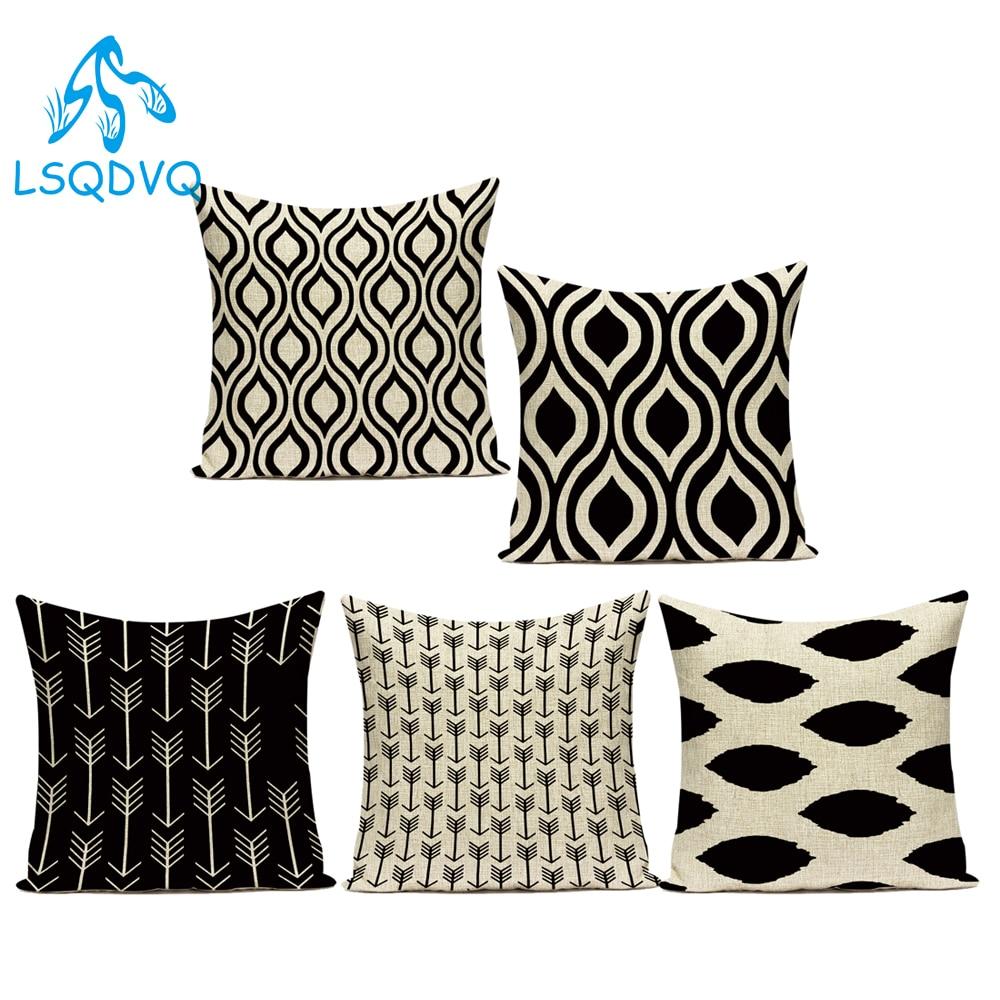 Negro Blanco Lino de algodón decorativo cojines Simple con rayas geométricas línea sofá decoración del hogar funda de cojín funda de almohada
