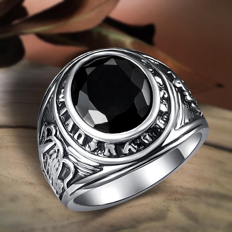 Kinel punk rock black stone men anel antigo tibetano prata vintage jóias de casamento por atacado