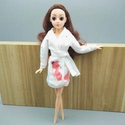 Branco Animais Roupão de Banho Para Boneca Barbie Fatos de Banho Desgaste Dormir de Pijama de Inverno Roupas Casuais Para Barbie Brincar de Casinha Brinquedos Do Miúdo