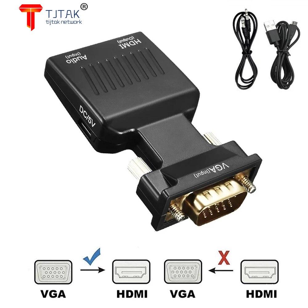 Vga Macho Para HDMI Conversor FMEA de Audio Adaptador de Entrada de...