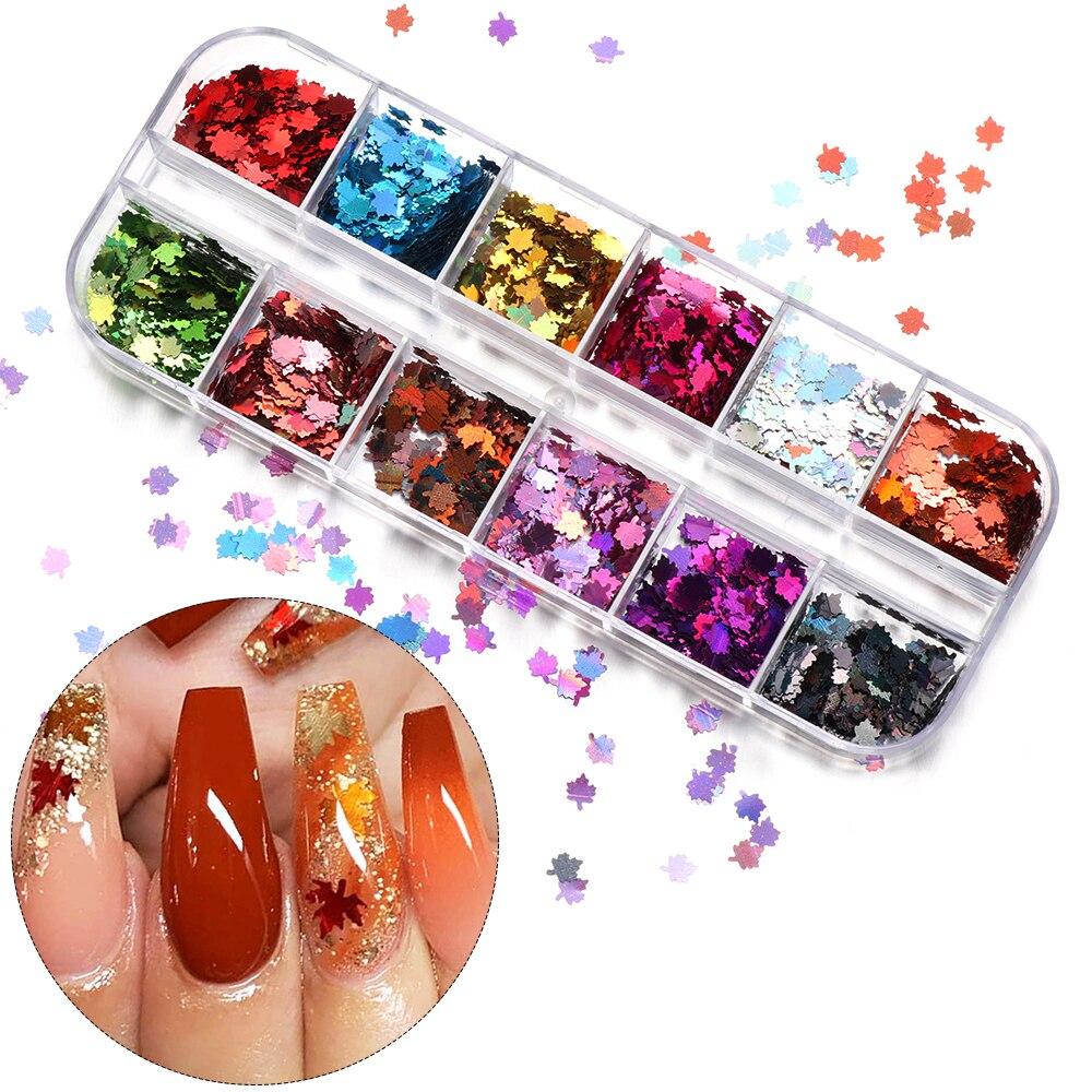 12 Grid Mehrfarbige Herbst Maple Leaf Nail art Pailletten Holographische Chamäleon Laser Glitter Flakes UV Gel Polnischen Werkzeug Decor