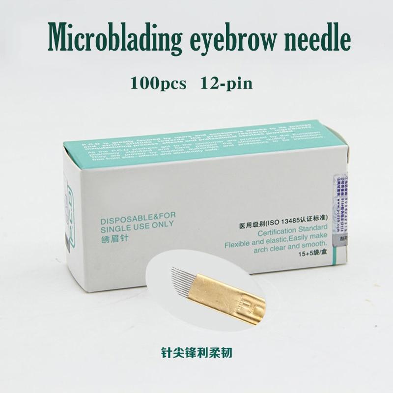 100 pcs 12 Pin Permanent Makeup Eyebrow Tatoo Blade Microblading Needles For 3D Embroidery Manual Tattoo Pen Machine