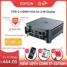 Topton 10Th Gen Mini Pc Intel Core i7 10750H processeur 6 cœurs 12 fils Windows 10 pro Liunx ordinateur de bureau DP HDMI type-c