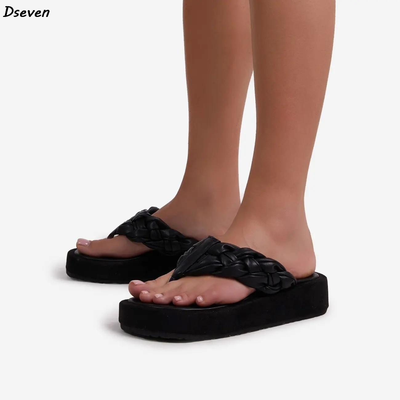 Chinelos de Couro Sandálias para Mulheres Sandalias de Mujer Nova Mulher Macio Tecido Verão Flip Flops Plataforma Sandálias Senhoras Chinelos
