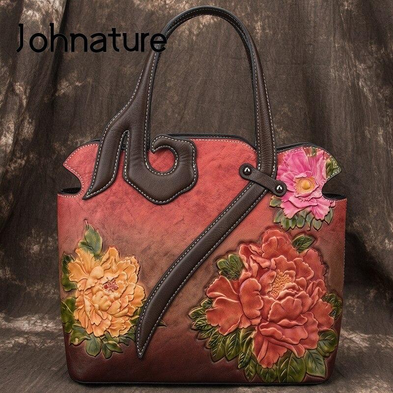 حقائب يد جلدية أصلية ريترو للنساء ، حقيبة يد فاخرة ، صناعة يدوية ، نقش ، حقيبة كتف ، مجموعة جديدة 2021