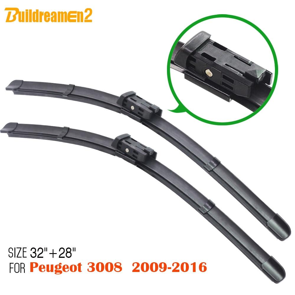 Buildreamen2 1 Paar Bracketless Weichen Gummi Auto Scheibenwischer Klingen Für Peugeot 3008 2009-2016 Rahmenlose Auto Wischer Klinge