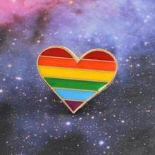Arco-íris coração esmalte pinos gay lésbica orgulho lgbt pino distintivo criativo esmalte geométrico pinos jóias broches presente jóias