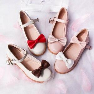 Sweet lolita shoes tea party kawaii princess kawaii shoes vintage lace bowknot round head high heel women shoes loli cosplay cos