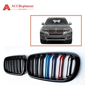 For BMW X5 X6 F15 F16 Front Bumper Grill Grille Double Slat Tricolor 2015-2018