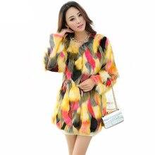 2019 Vrouwen Kleurrijke Bontjas Mode Slanke Bont Geleidelijke Kleur Faux Fur Jas Lange Jas Overjas Parka PC117