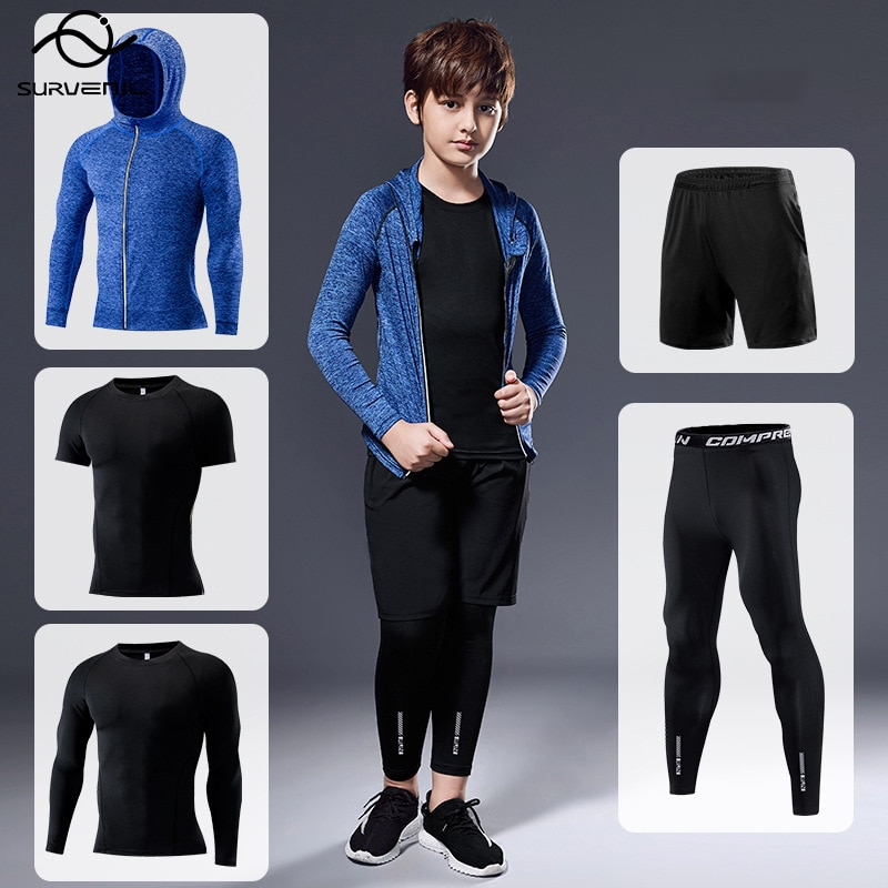 AliExpress - Children Sports Workout Compression Sets Fitness Gym Clothing Kids Tights Leggings Running Tracksuit Boys Training Jogging Suits