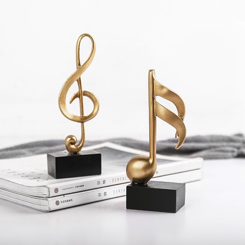 Figura de modelo de nota Musical, artesanía de resina, ornamento de Piano...