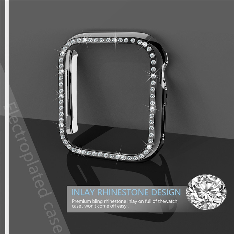 Fundas de diamantes para apple watch cover Series 3 2 1 38/42mm marco protector parachoques para iWatch 4 accesorios de cubierta de PC de 44/40mm